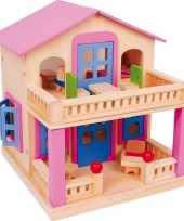 Feest houten huis clara voor poppen