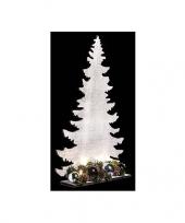 Feest houten kerstboom wit met licht 36 cm
