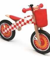 Feest houten loopfiets rood