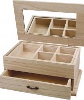Feest houten sieradendoos onbedrukt 27 cm