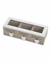 Feest houten theedoos met hartjes en 3 vakken