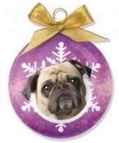 Feest huisdieren kerstballen hondjes mops