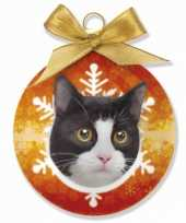 Feest huisdieren kerstballen kat zwart wit