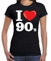 Feest i love 90s nineties t-shirt zwart dames