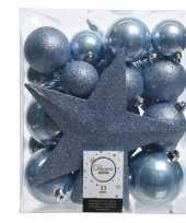 Feest ijsblauw kerstballen pakket met piek 33 stuks