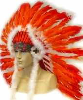 Feest indianen veren tooien rood oranje