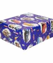 Feest inpakpapier cadeaupapier disney cars 200 x 70 cm blauw