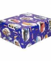 Feest inpakpapier cadeaupapier disney cars blauw 200x70 cm