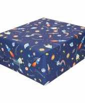 Feest inpakpapier cadeaupapier donkerblauw raketten 200 x 70 cm op rol