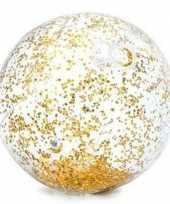 Feest intex opblaasbare gouden glitter strandbal 71 cm speelgoed