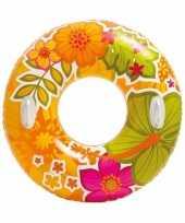 Feest intex zwemband oranje met bloemen 97 cm