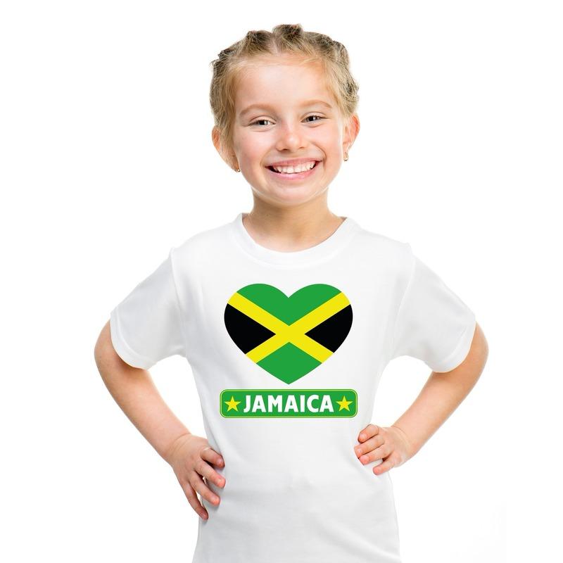 Feest jamaica hart vlag t-shirt wit jongens en meisjes
