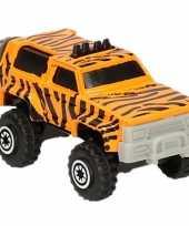 Feest jeep safari speelgoedauto tijger print 7 cm
