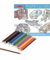 Feest jongens kleurboek met kleurpotloden set