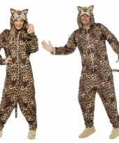 Feest jumpsuit luipaard all in one voor volwassenen