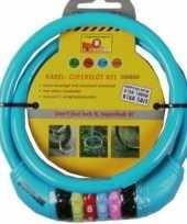 Feest kabelslot met cijferslot blauw 10 x 650 mm