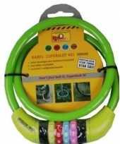 Feest kabelslot met cijferslot groen 10 x 650 mm