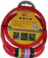 Feest kabelslot met cijferslot rood 10 x 650 mm