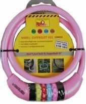 Feest kabelslot met cijferslot roze 10 x 650 mm