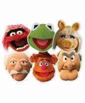 Feest kartonnen muppet show maskers 6 stuks