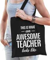 Feest katoenen cadeau juf meester tasje awesome teacher zwart