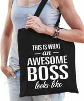 Feest katoenen cadeau tasje awesome boss zwart