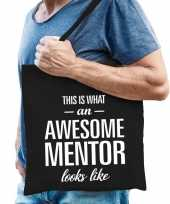 Feest katoenen cadeau tasje awesome mentor zwart
