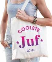 Feest katoenen cadeau tasje coolste juf 2019