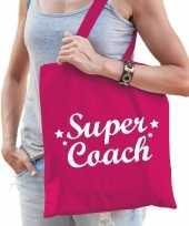 Feest katoenen cadeau tasje super coach fuchsia roze