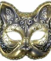 Feest katten masker goud zwart handgemaakt