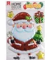 Feest kerst decoratie 3d raamstickers kerstman 28 x 41 cm