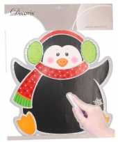Feest kerst decoratie pinguin krijtbord sticker 31 x 38 cm