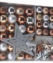 Feest kerst decoratie set 45 delig brons zilver goud royal classics