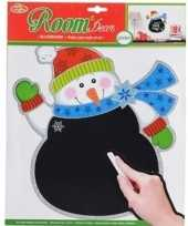 Feest kerst decoratie sneeuwpop krijtbord sticker 31 x 38 cm