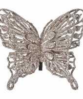 Feest kerst decoratie vlinder champagne 13 x 11 cm