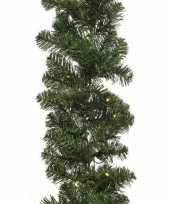 Feest kerst dennenslinger guirlande groen met verlichting 270 cm