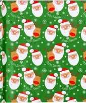 Feest kerst inpakpapier groen met kerstman print 200 x 70 cm