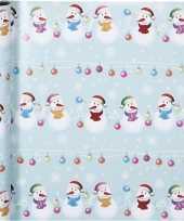 Feest kerst inpakpapier met sneeuwpoppen print 400 x 70 cm