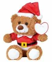 Feest kerst knuffel pluche beer bruin zittend 18 x 19 cm speelgoed