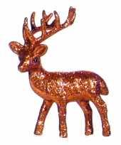 Feest kerst oranje rendier vensterbank versiering 10 cm