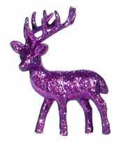 Feest kerst paarse rendier vensterbank versiering 10 cm