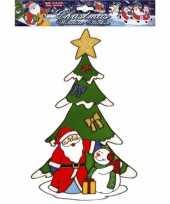 Feest kerst raamsticker kerstman en sneeuwpop