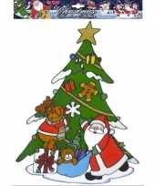 Feest kerst raamsticker kerstman met rendier
