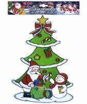 Feest kerst raamsticker sneeuwpop en kerstman