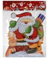 Feest kerst raamstickers raamdecoratie 3d kerstman 25 x 34 cm 10110168