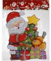 Feest kerst raamstickers raamdecoratie 3d kerstman 25 x 34 cm