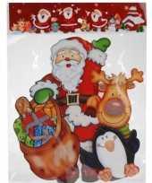 Feest kerst raamstickers raamdecoratie 3d kerstman pinguin 25 x 34 cm