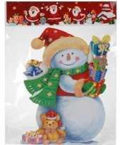 Feest kerst raamstickers raamdecoratie 3d sneeuwpop 25 x 34 cm