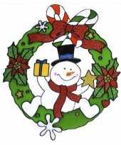Feest kerst raamstickers raamdecoratie sneeuwpop plaatjes 30 cm
