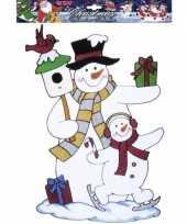 Feest kerst raamstickers raamdecoratie sneeuwpop plaatjes 40 cm